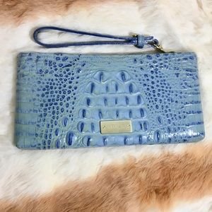 Light Blue Brahmin Wristlet